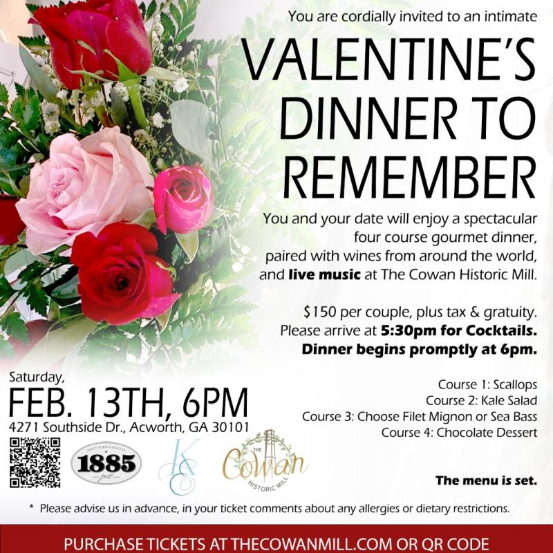 A Valentine's Dinner to Remember at The Cowan Historical Mill